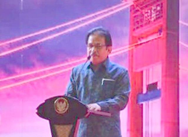 Menteri ATR BPN, Sofyan Djalil memberi sambutan dalam acara pembagian sertifikat di Gedung Palembang Sport and Convention Center (PSCC), Senin (22/1/2018)