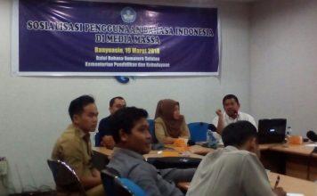 Acara Sosialisasi Penggunaan Bahasa Indonesia dengan awak media di Kabupaten Banyuasin. di Ruang Rapat Kantor Diskominfo Banyuasin. Senin (19/03/18).