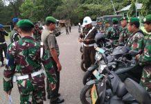 POM Galang saat melakukan pemeriksaan kelengkapan kenderaan seluruh prajurit jajaran Kodim 0114/Aceh Jaya,. di halaman Makodim setempat, Desa Bahagia, Kecamatan Krueng Sabee, Kabupaten Aceh Jaya, Senin (11/3/2019)