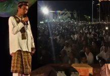 UAS saat memberi tausiah dslam acara isra Miraj di halaman Islamic Centre, Komplek Kantor Bupati Aceh Jaya, Rabu (3/4/2019) malam.