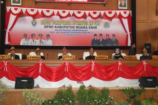 Suasana Rapat Paripurna Istimewa HUT Kabupaten Muara Enim Ke-72