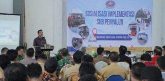 Wakil Bupati Muba Beni Hernedi. memberikan kata sambutan dalam acara Sosialisasi Implementasi Sub Penyalur BBM bagi masyaakat Kabupaten Musi Banyuasin (Muba), di Gedung Serbaguna Kecamatan Keluang, Jumat (1/3/2019)