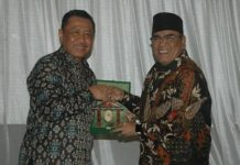 Bupati Muara Ir H Ahmad Yani saat menerima kunjungan Ketua Pengadilan Tinggi Palembang