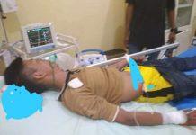 Yondri Robiul Alim saat dievakuasi ke RSUD Banyuasin
