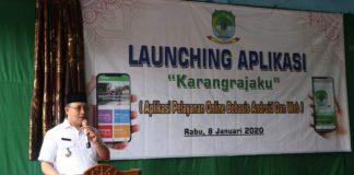 Plt Bupati Muara Enim H Juarsah SH saat melaunching aplikasi Karang RajaKu