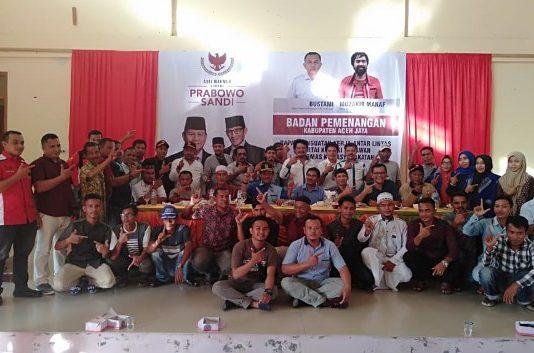 Tim Pemenangan Prabowo-Sandi, Di Aceh Jaya, Melaksanakan Rapat Kerja